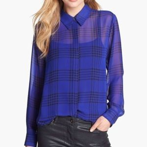 Vince Camuto Sheer Button Down Plaid Blouse